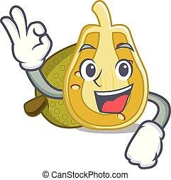 Okay jackfruit character cartoon style vector illustration