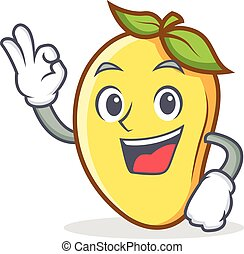 Okay mango character cartoon mascot vector illustration