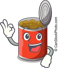 Okay metal food cans on a cartoon vector illustration