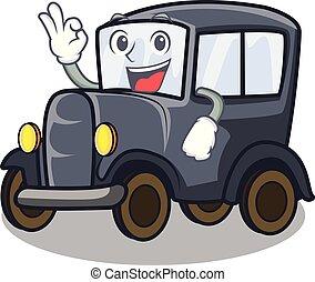 Okay old car isolated in the cartoon