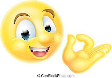 A cartoon emoji emoticon character giving an okay hand sign or perfect gesture