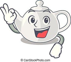 Okay porcelain teapot ceramic isolate on mascot