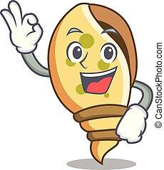 Okay sea shell character cartoon