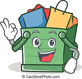 Okay shopping basket character cartoon