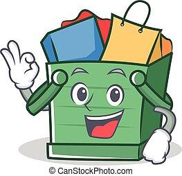 Okay shopping basket character cartoon