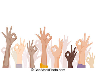 Okay Sign - Hands signing Okay with Clipping Path