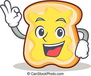 Okay slice bread cartoon character vector art illustration
