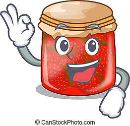 Okay strawberry marmalade in glass jar of cartoon