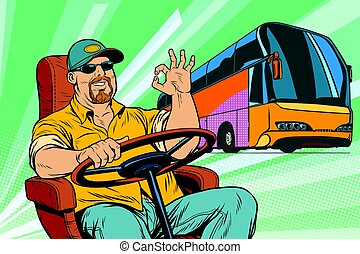 okay tourist bus driver. Transport and transportation. Pop...