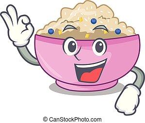 Okay traditional porridge rice in bowl cartoon vector ...