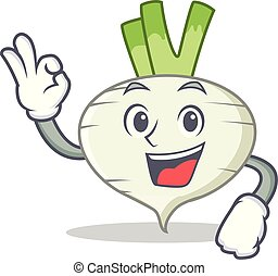 Okay turnip character cartoon style vector illustration