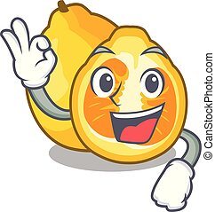 Okay ugli in the mascot fruit basket illustration vector
