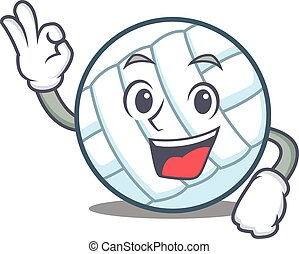 Okay volley ball character cartoon vector illustration