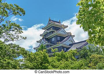 Okayama castle behind trees, Japan. Side view