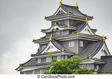 Okayama Castle facade against white sky, close-up - Facade ...