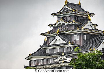 Okayama Castle facade against white sky - Facade of Okayama ...