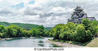 Okayama Castle profile and river in Japan - Profile view ...