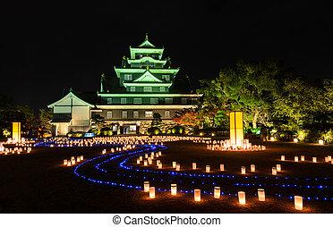 Okayama castle with lanterns light-up at night in Okayama, Japan