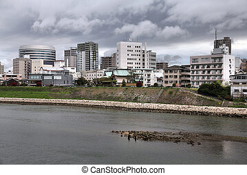 Okayama city in Chugoku region of Japan (Honshu Island). ...