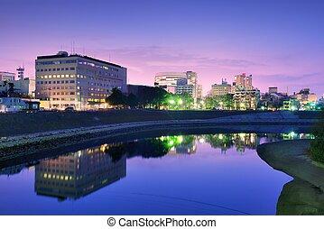 Okayama Cityscape - Okayama, Japan cityscape at the Asahi ...