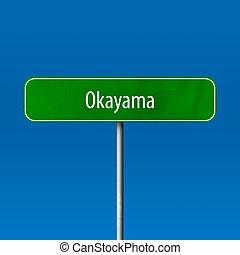 Okayama - town sign, place name sign