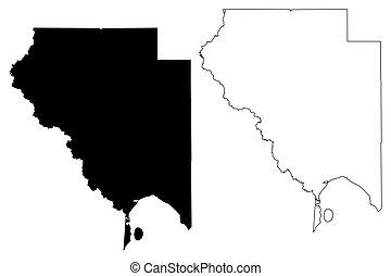 Okeechobee County, Florida (U.S. county, United States of America, USA, U.S., US) map vector illustration, scribble sketch Okeechobee map