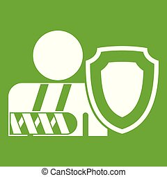 oken arm and safety shield icon green