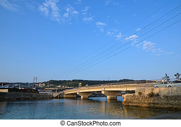 Bridge to the island Ou-jima, Ou island, at Okinawa in Japan