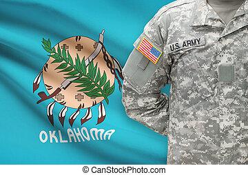 oklahoma, -, állam, bennünket, katona, lobogó, háttér, amerikai