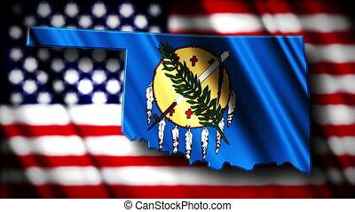 Oklahoma 03 - Flag of Oklahoma in the shape of Oklahoma...