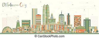 oklahoma, bâtiments., couleur, horizon ville