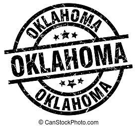 Oklahoma black round grunge stamp