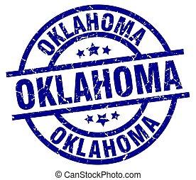 Oklahoma blue round grunge stamp