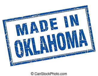 Oklahoma blue square grunge made in stamp