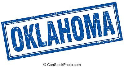 Oklahoma blue square grunge stamp on white