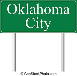 Oklahoma City green road sign isolated on white background