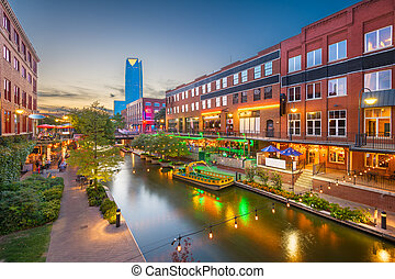Oklahoma City, Oklahoma, USA cityscape in Bricktown at dusk.