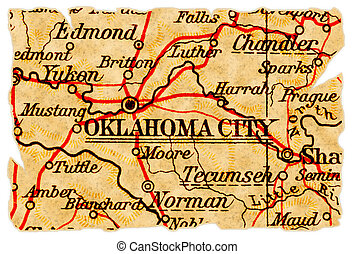 Oklahoma City old map - Oklahoma City, Oklahoma on an old...