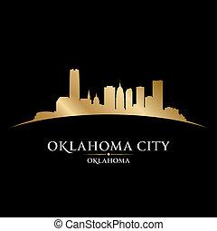 Oklahoma city silhouette black background - Oklahoma city ...