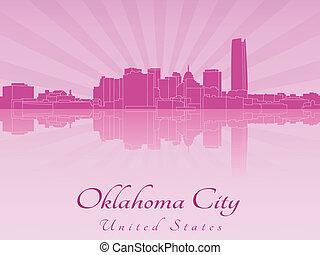 Oklahoma City skyline in purple radiant orchid
