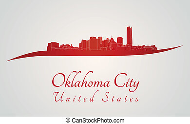 Oklahoma City skyline in red