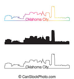 Oklahoma City skyline linear style with rainbow
