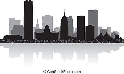 Oklahoma city USA skyline silhouette vector illustration