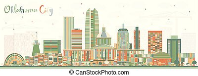 Oklahoma City Skyline with Color Buildings. Vector ...