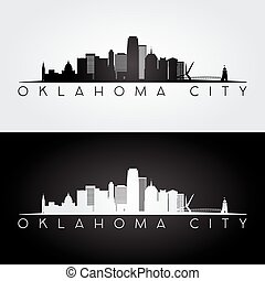 Oklahoma City USA skyline and landmarks silhouette.