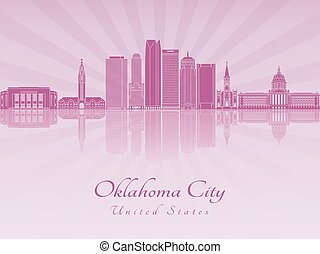 Oklahoma City V2 skyline in purple radiant orchid