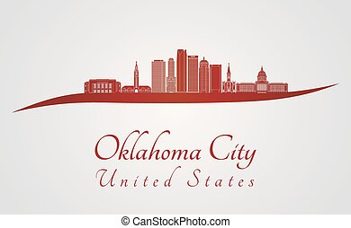 Oklahoma City V2 skyline in red