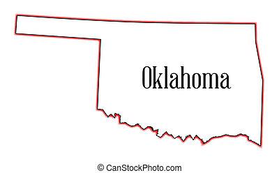 Oklahoma - Outline map of the USA state of Oklahoma
