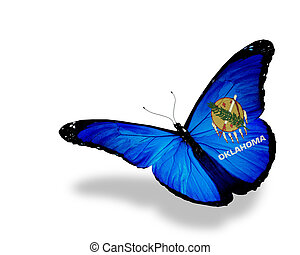 Oklahoma flag butterfly flying on sky background