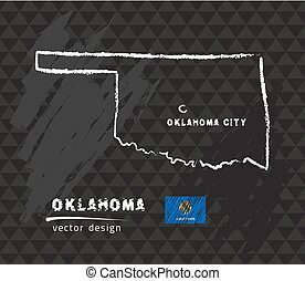 Oklahoma map, vector pen drawing on black background
